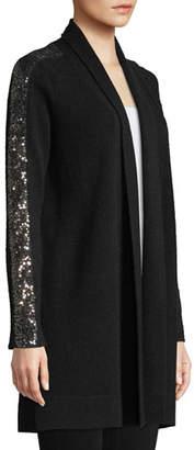 Neiman Marcus Sequin-Sleeve Cashmere Open-Front Cardigan