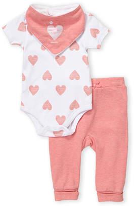 Absorba Newborn Girls) 3-Piece Heart Print Bodysuit & Pants Set