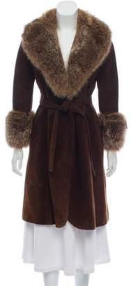 Loewe Suede Fur-Trimmed Coat