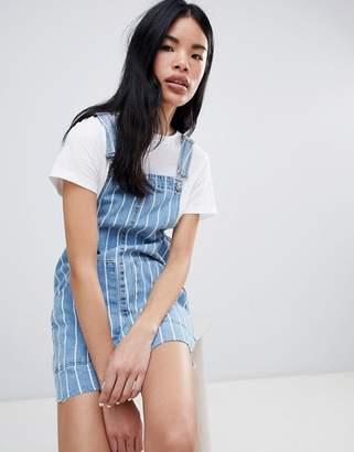 Pull&Bear Stripe Denim Overalls Dress