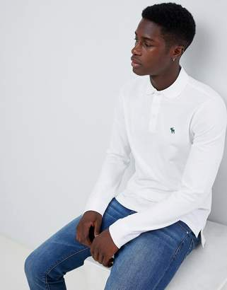 Abercrombie & Fitch icon logo long sleeve stretch slim fit pique polo in white