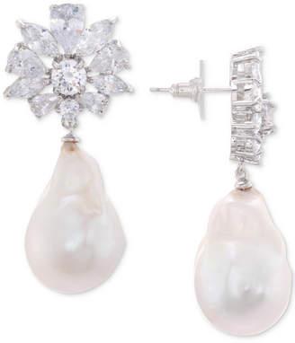 Nina Silver-Tone Crystal Cluster & Imitation Pearl Drop Earrings