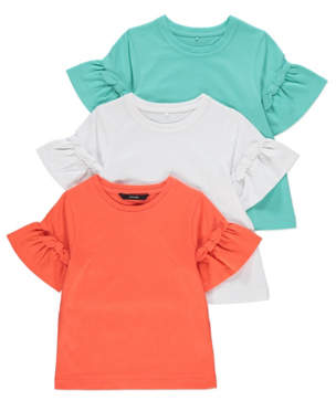 George Assorted Frill Sleeve T-Shirts 3 Pack