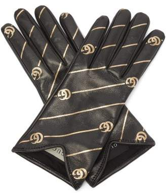 Gucci Printed Leather Gloves - Womens - Black