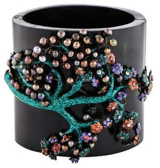 MCL by Matthew Campbell Laurenza Multicolored Sapphire, Pearl & Enamel Wood Bangle