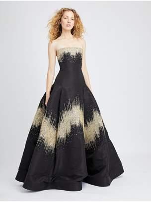 b3e0b8119f Oscar de la Renta Degrade Embroidered Silk-Faille Gown