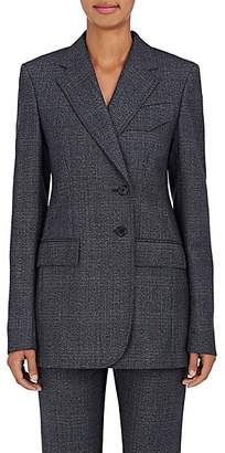 Calvin Klein Women's Checked Wool Two-Button Blazer - Charcoal