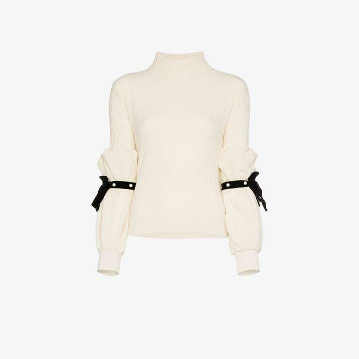 pearl ribbon sleeve rollneck jumper