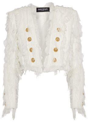 Balmain Cropped Chiffon-Appliquéd Tweed Jacket