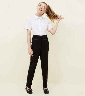 New Look Girls Black Leather-Look Trim School Trousers