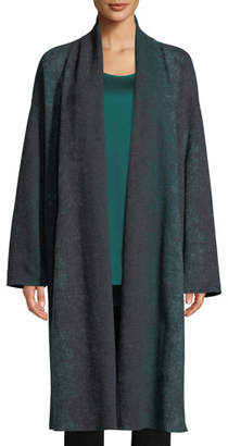 Eileen Fisher Oxidized Boiled Wool Long Kimono Coat w/ Side Slits, Plus Size