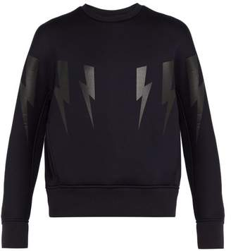 Neil Barrett Lightning Bolt Print Bonded Neoprene Sweatshirt - Mens - Navy Multi