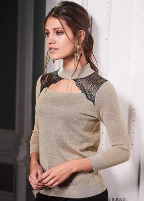 Together Metallic & Lace Sweater