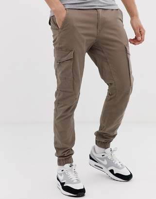 Jack and Jones cuffed cargo trouser in sand