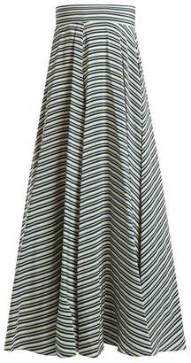 Diane von Furstenberg Paxton Striped Silk Skirt - Womens - Blue Stripe