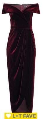 Xscape Evenings Off-The-Shoulder Velvet Dress