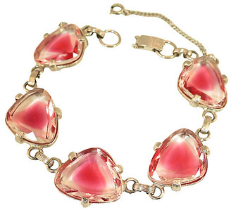 One Kings Lane Vintage 1950s Judy Lee Pink Cuba Glass Bracelet - Neil Zevnik