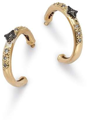 Armenta Blackened Sterling Silver & 18K Yellow Gold Old World Crivelli Champagne Diamond Hoop Earrings
