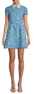 Valentino Star-Print Embellished-Collar Dress