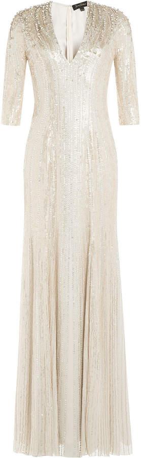 Jenny Packham Floor Length Embellished Silk Dress