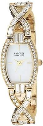Badgley Mischka Women's BA/1378MPGB Swarovski Crystal Accented -Tone Open Bracelet Watch