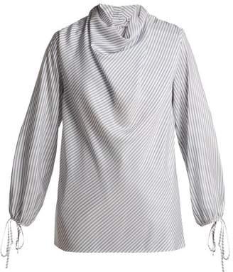 Loewe - Striped Silk Blouse - Womens - Blue Stripe