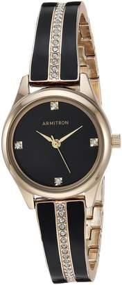 Swarovski Armitron Women's 75/5208BKGPBK Crystal Accented Gold-Tone and Bangle Watch