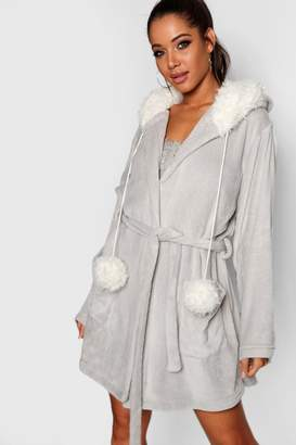 boohoo Pom Pom Bear Dressing Gown
