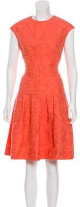 Lela Rose Crew Neck Midi Dress Pink Crew Neck Midi Dress