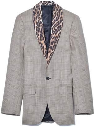 R 13 Shawl Lapel Tuxedo Jacket in Brown Glenplaid with Leopard