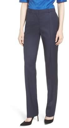 BOSS Tamea Dark Blue Wool Melange Trousers