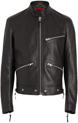 Burberry Zip Detail Leather Jacket