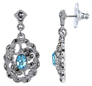 2028 Silver-Tone Aqua Blue and Hematite Color Filigree Drop Earrings