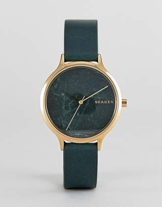 Skagen SKW2720 Anita leather watch in green