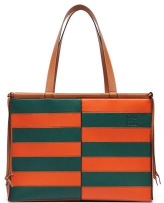 Loewe Cushion Large Striped Leather Tote Bag - Womens - Orange Multi