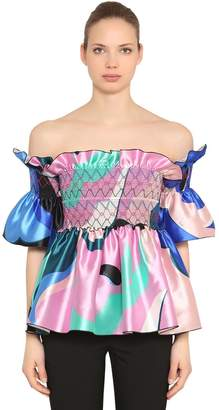 Emilio Pucci Off The Shoulder Ruffled Silk Satin Top