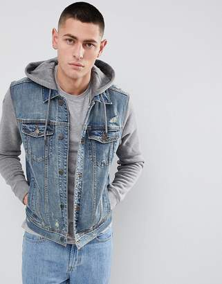 Hollister Hooded Denim Jacket With Grey Sweat Sleeves And Hood In Mid Wash
