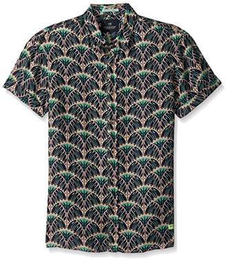 Scotch & Soda Men's Shortsleeve Shirt in Linen Quality with Colorful All-Over P