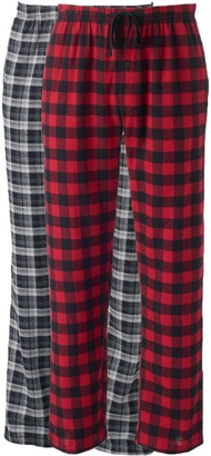 Hanes Big & Tall 2-pk. Plaid Flannel Lounge Pants
