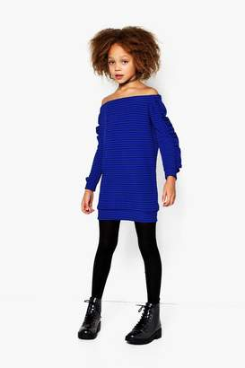 boohoo Girls Bardot Micro Ruffle Rib Dress