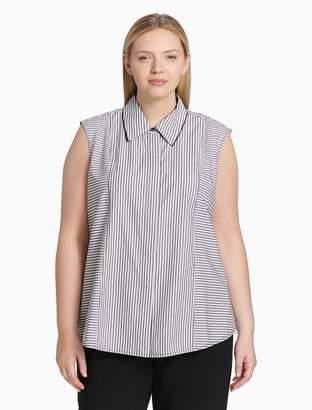 Calvin Klein Plus Size Striped Sleeveless Top
