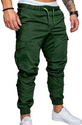 Sopliagon Mens Multi Pockets Drawstring Skinny Casual Tall and Big Cargo Pants XXL