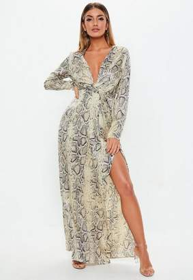 Missguided Cream Snake Print Satin Twist Front Maxi Dress