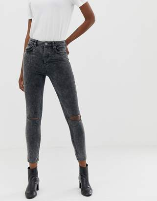 Asos Design DESIGN super high rise firm skinny jeans in acid wash grey cord with busted knees