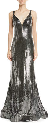 Jovani Metallic Sequin V-Neck Gown