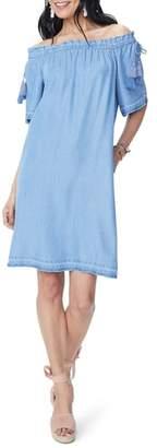 NYDJ Off the Shoulder Tassel Tie Chambray Dress