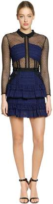 Self-Portrait Hazel Lace Mesh Mini Dress