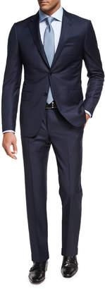 Ermenegildo Zegna Trofeo Wool Textured Two-Piece Suit, Navy