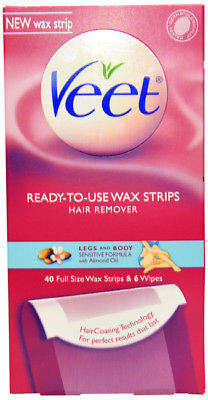 Veet Legs & Body Ready To Use Wax Strips Kit 40 Wax Strips, 6 Wipes 2 Pc Kit