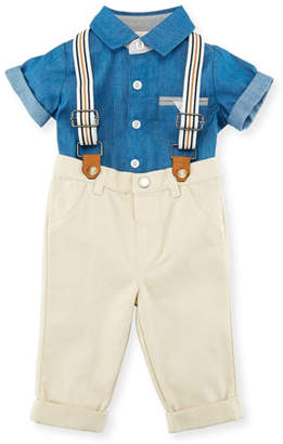 Miniclasix Button-Down Collared Shirt w/ Pants & Suspenders, Size 3-24 Months